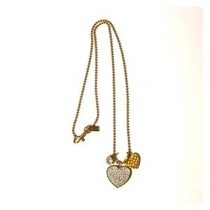 Coach Jeweled Heart Dog Tag Necklace